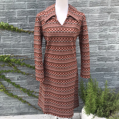 1970s Southwest Print Dress