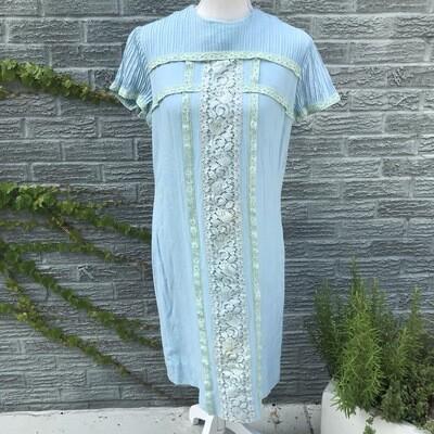 1940s Pale Blue Linen Dress