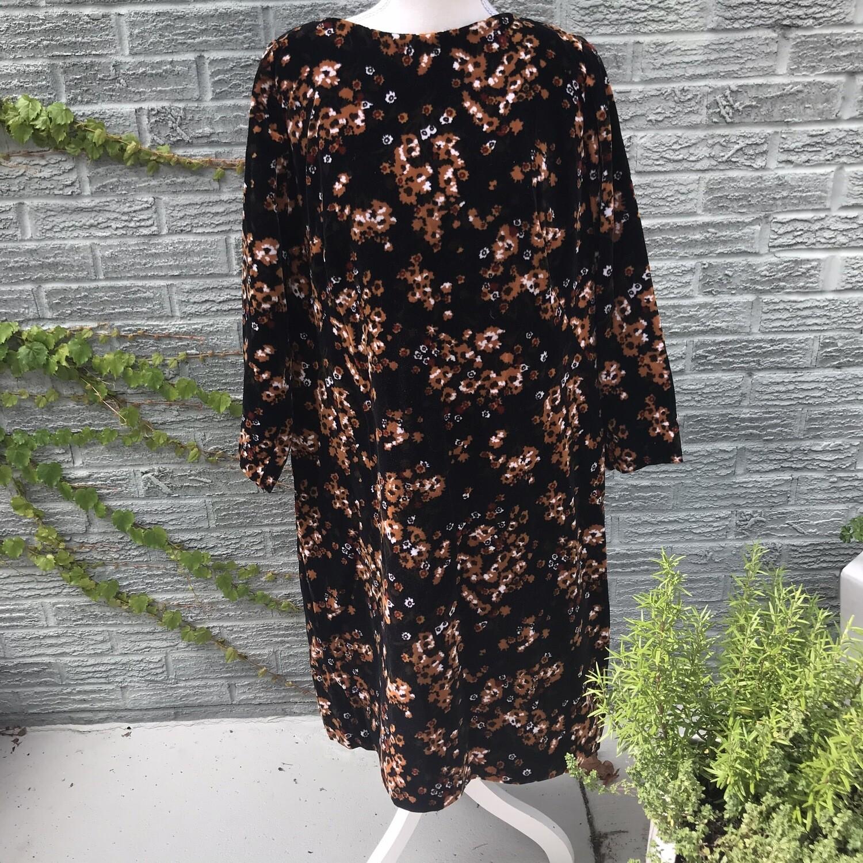 Handmade Black Velvet Floral Dress