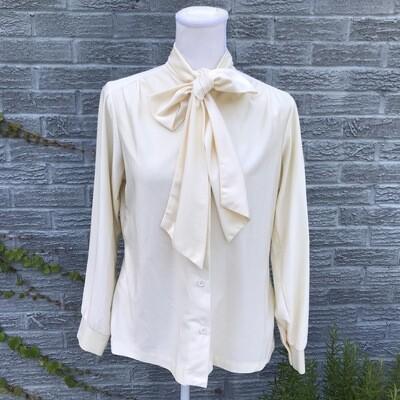 Vintage Cream Blouse W/ Tie Neck