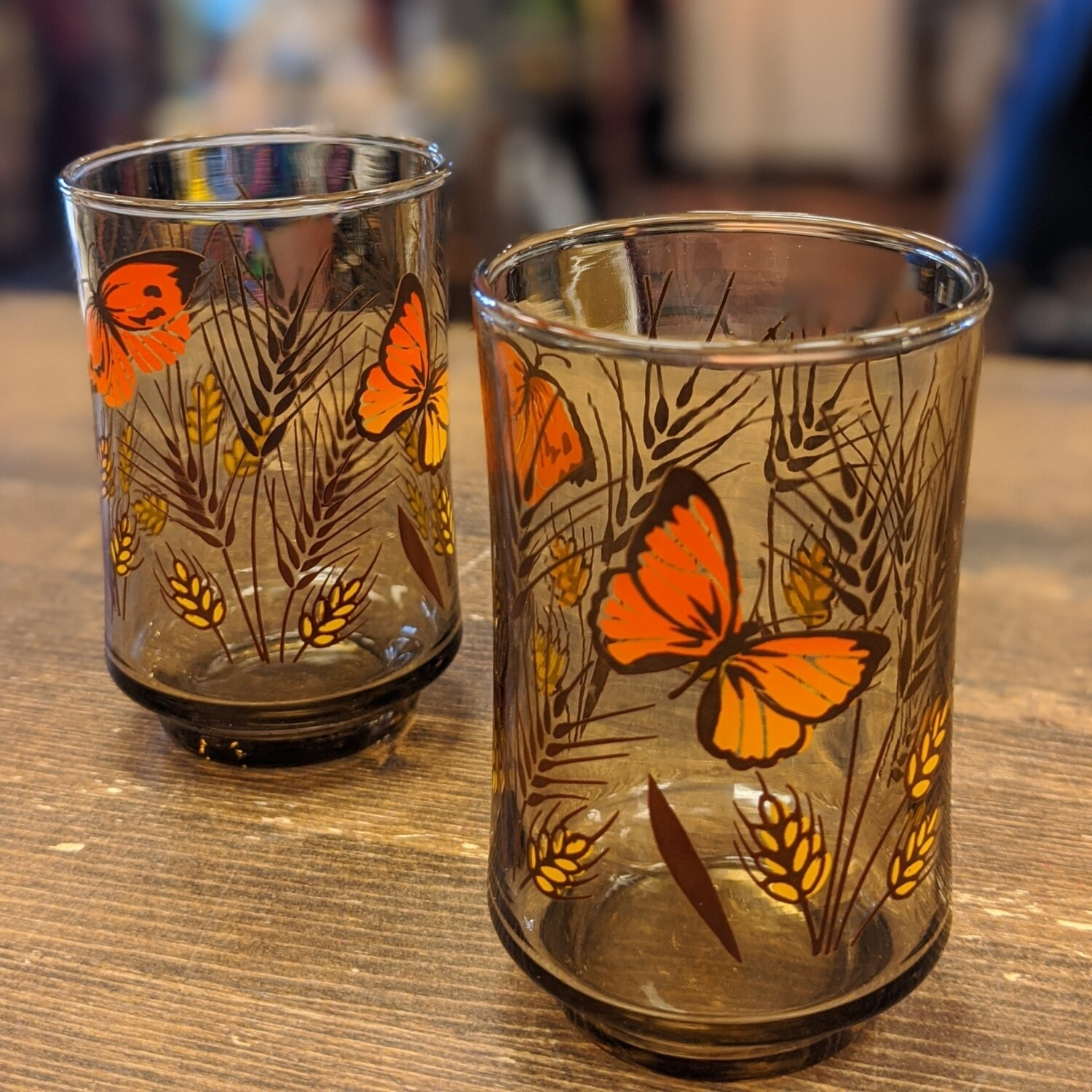 Smoky Glass Butterfly 1970s Juice Glasses