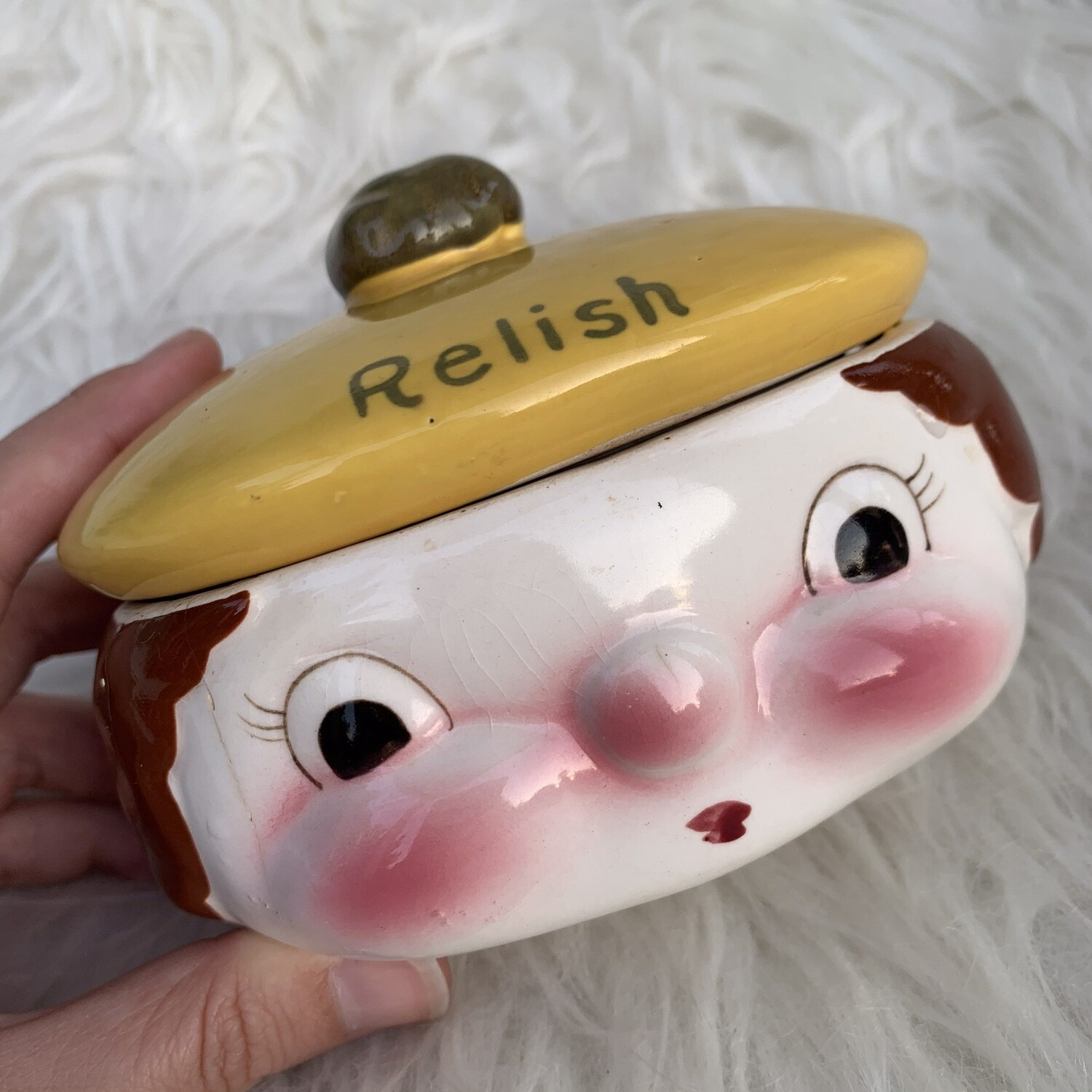 Vintage Face Relish Jar
