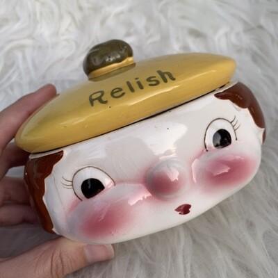 Vintage Face Relish Jar