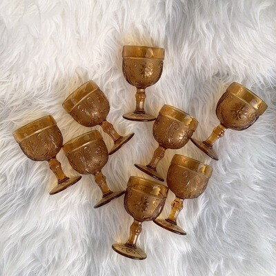 Vintage Small Amber Glasses | Set Of 8