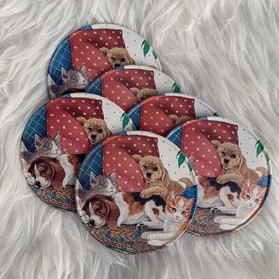 Vintage Kitty Coasters Set Of 6