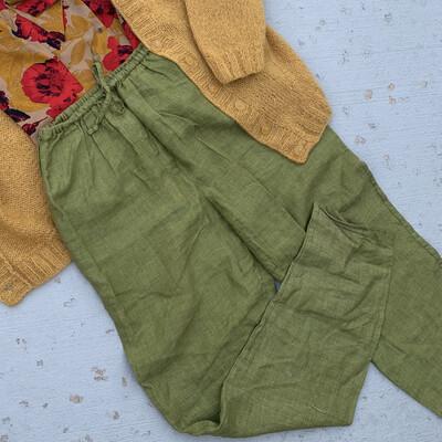 Green Linen Slacks