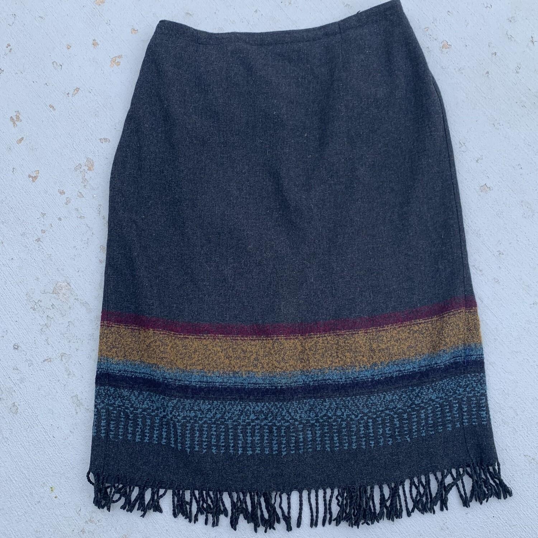 Wool Blend Fringe Skirt