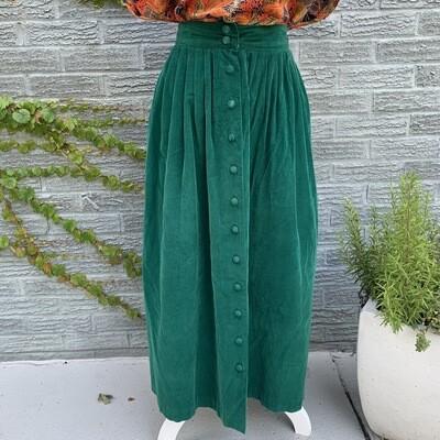 Emerald Corduroy Skirt