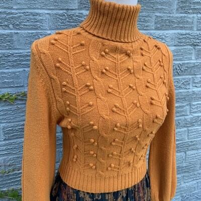 Orange Cropped Turtleneck Sweater