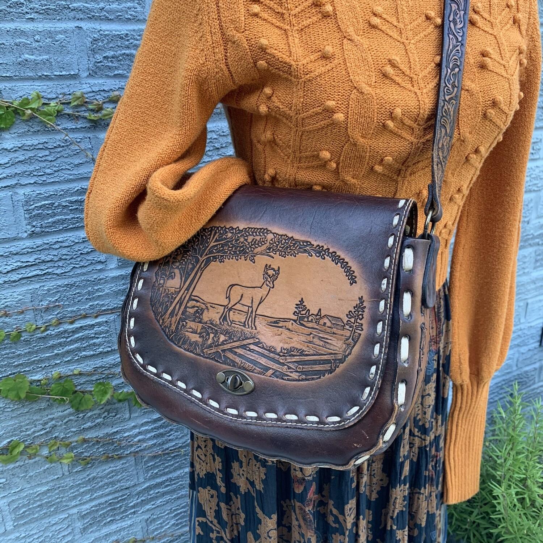 Vintage Hand-Tooled Leather Purse