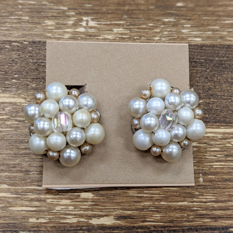 Vintage Faux Pearl + Crystal Clip-Ons