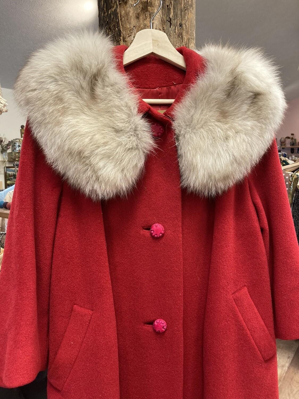 1960s Red Coat W/ Mink Collar
