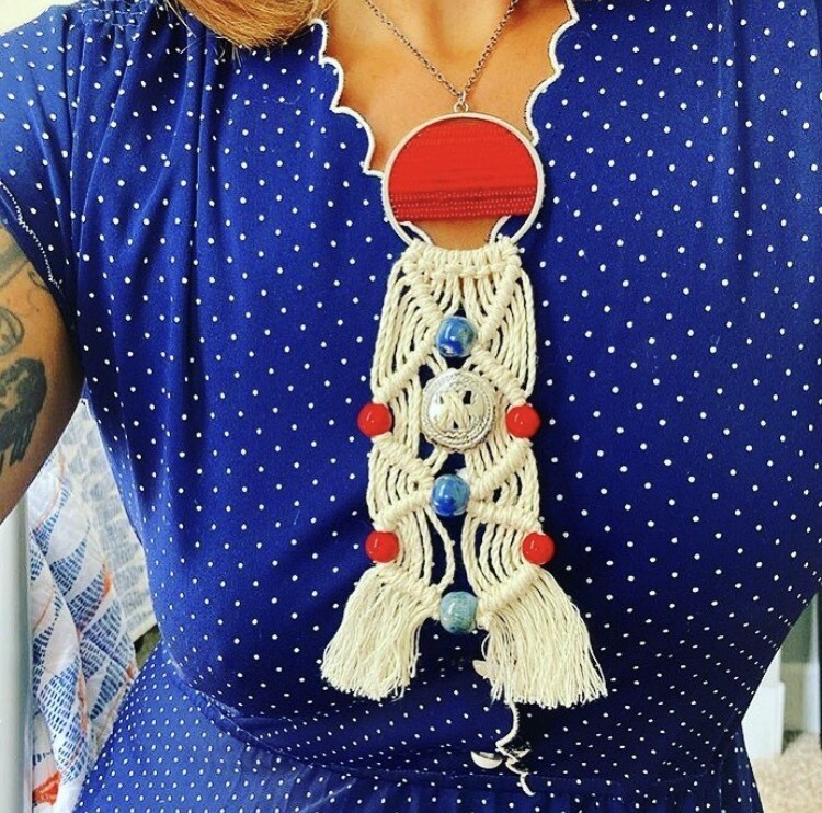 Handmade Macrame & Beaded Necklace