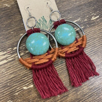Handmade Macrame & Beaded Earrings