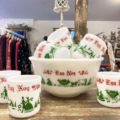 1960s Milk Glass | Set Of 12 Mugs & Mixing Bowl