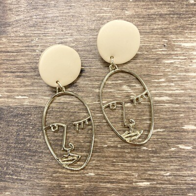 Mama Ochre Linear Face Earrings
