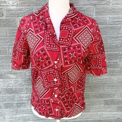 Red 1960s Bandana Blouse