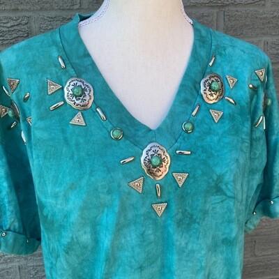 1980s Teal Tie Dye Western Tee
