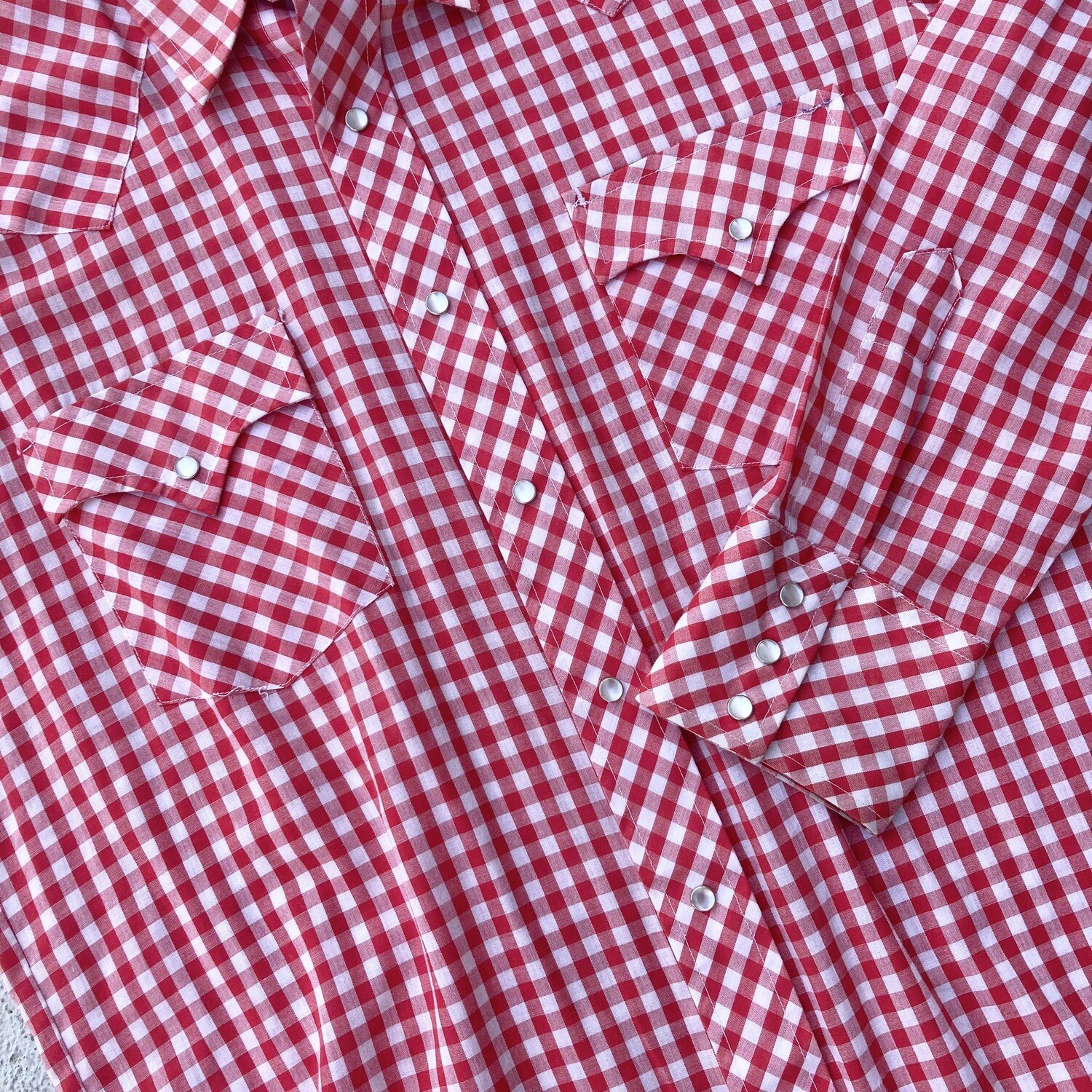 Vintage Red Plaid Western Button-Up