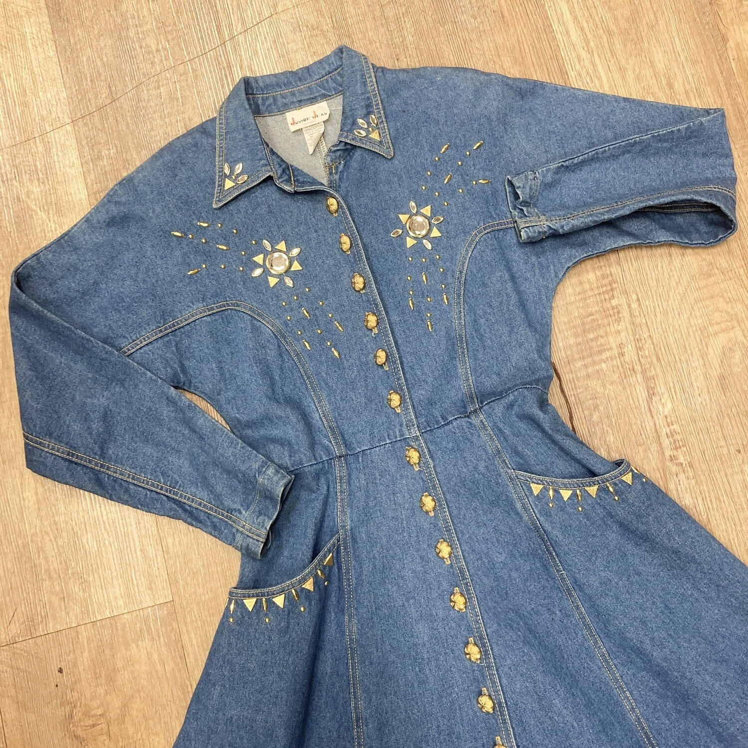 1980s Western Denim Dress With Rhinestone Details