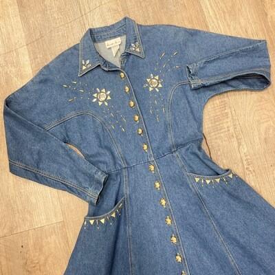 1980s Western Denim Dress With Rhinestone Details