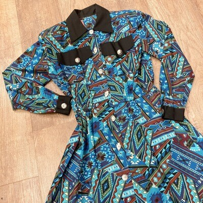 1980s Southwestern Print Dress