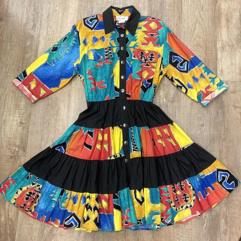 Vintage Colorful Western Dress
