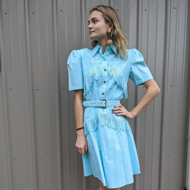 Teal 1980s Western Lilia Smith Fringed Dress