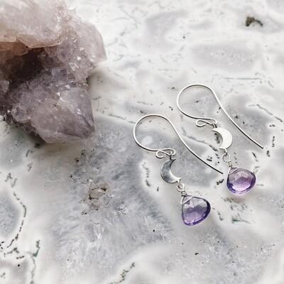 Sterling Silver Crescent Moon Gemstone Earrings