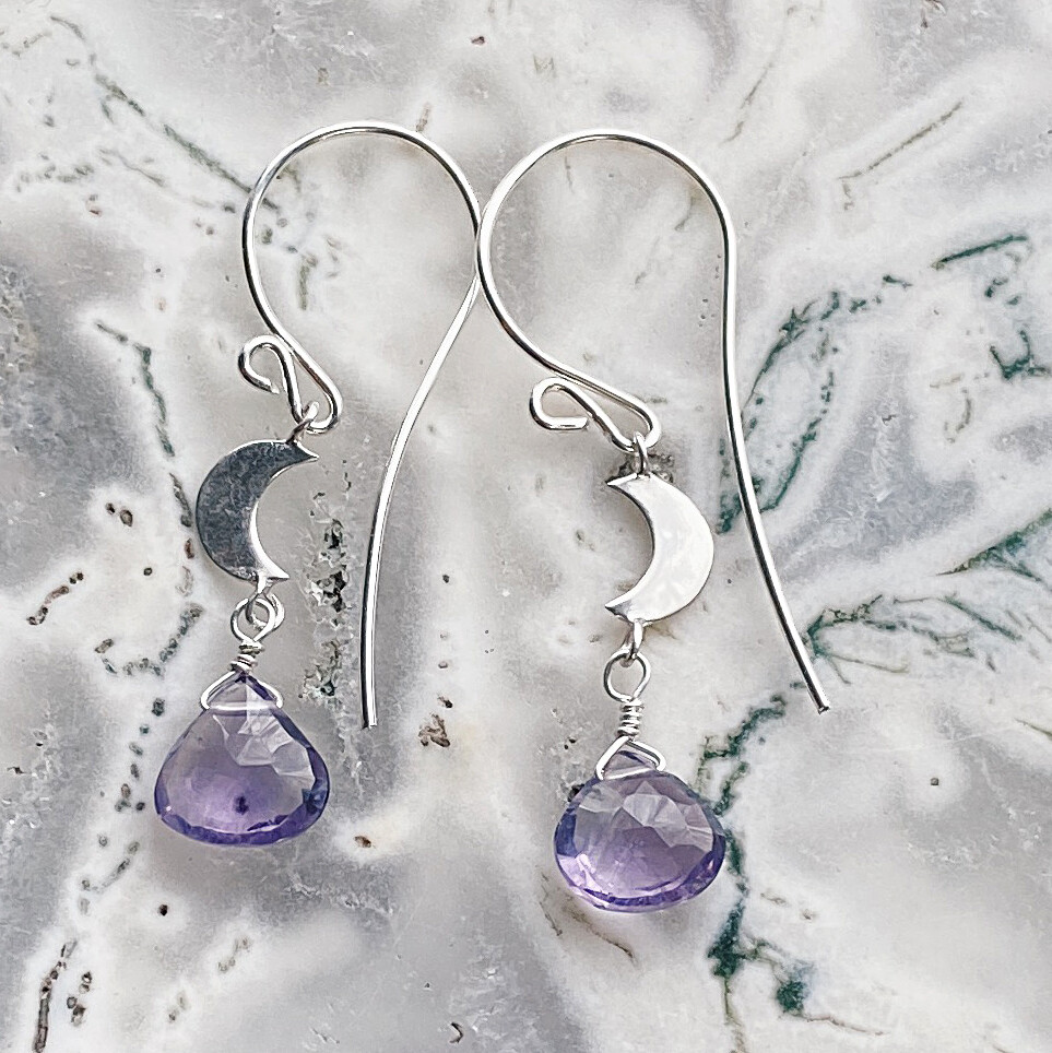 Sterling Silver Crescent Moon Gemstone Earrings
