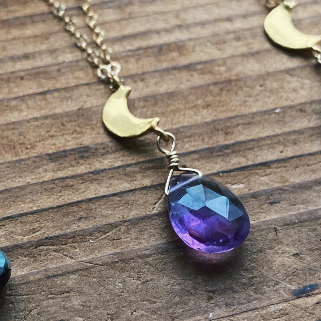 Gold-Filled Crescent Moon Gemstone Necklace