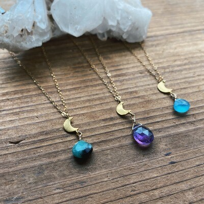 Gold-Filled Crescent Moon Gemstone Necklace