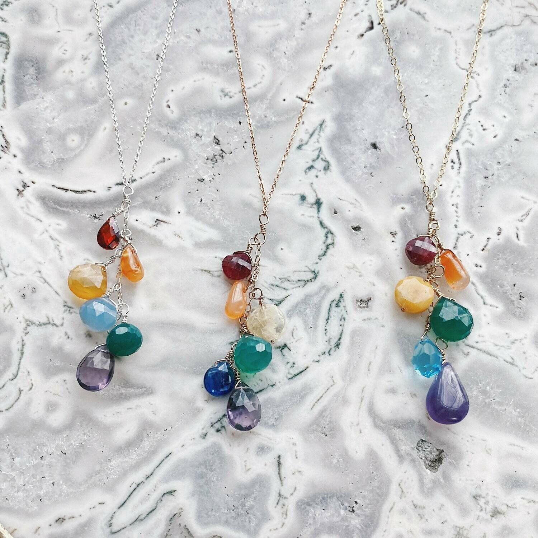 Rainbow Cascade Gemstone Necklace