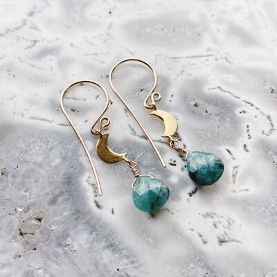 Gold-Filled Crescent Moon Gemstone Earrings