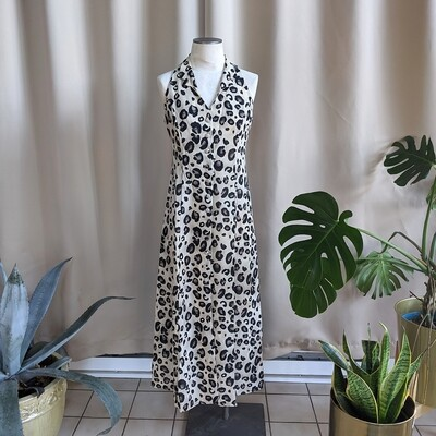 90s Leopard Print Button-Down Maxi Dress with Collar