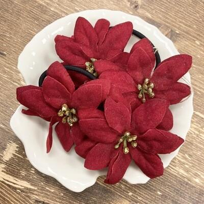 Poinsettia Ponytail Holder