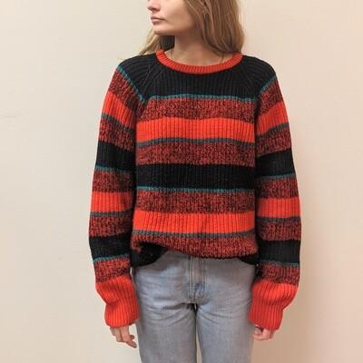 Oversized Knit Red Stripe Sweater