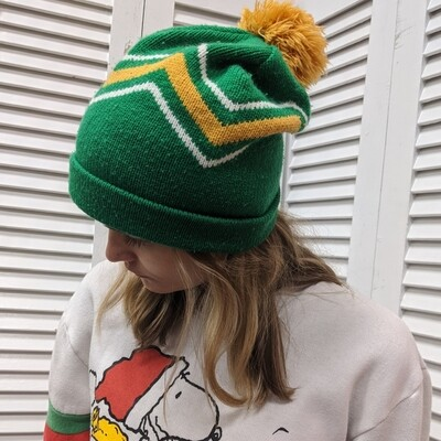 Green Beanie with Yellow Poof