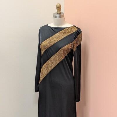 Black + Gold 1980s Sheer Dress
