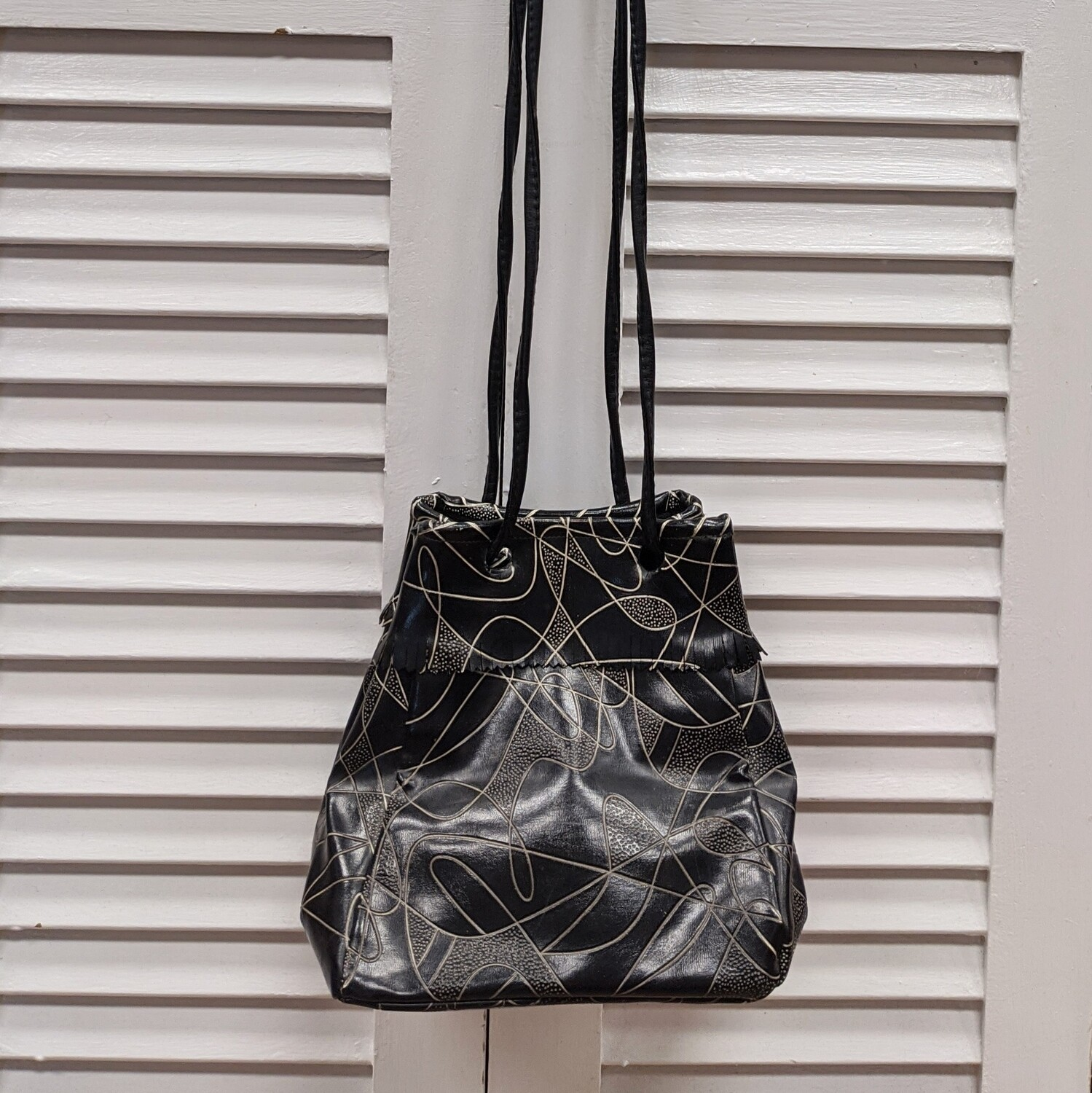 Black + White Abstract Leather Purse