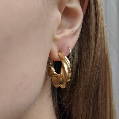 1980s Chunky Twisted Gold Hoops