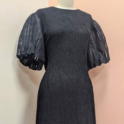 Black Ruched + Ruffled Puff Sleeve Party Dress