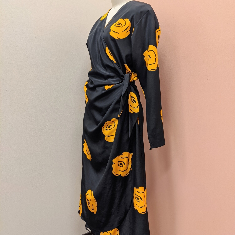 90s Virgo Floral Wrap Dress