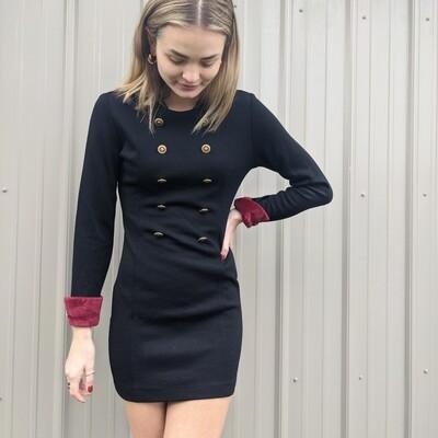 Monna Lisa Knit Dress w/ Gold Buttons