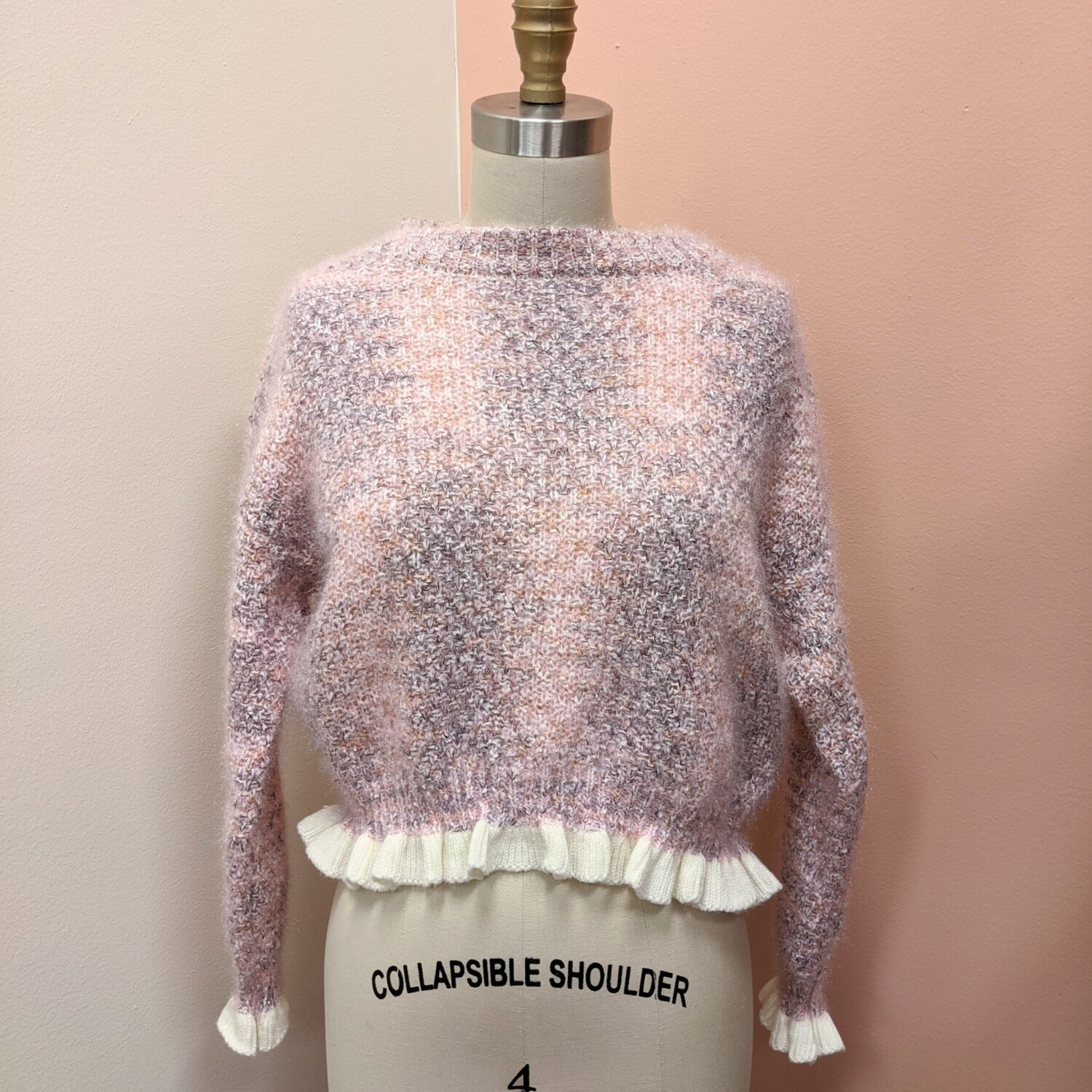 Space Dyed Cropped Ruffle Sweater
