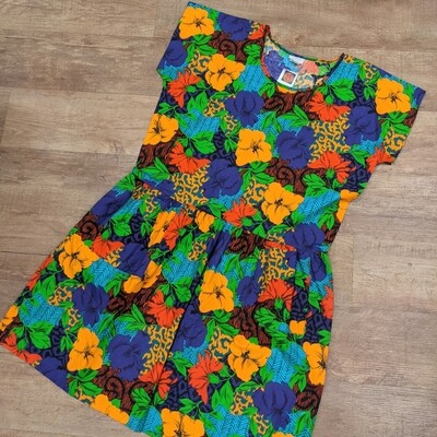 80s Appel Bright Floral Dress