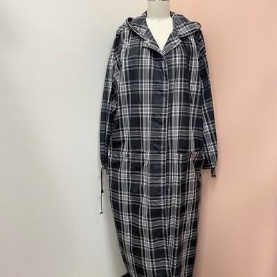 Anne Klein Floor Length Plaid Rain Jacket