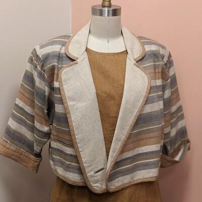 Platinum Neutral Stripe Linen Cropped Blazer