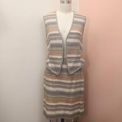 Platinum Neutral Stripe Linen Vest + Skirt Set