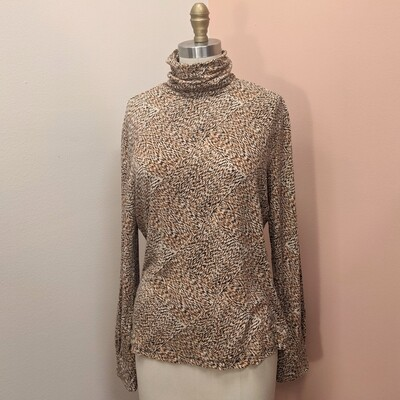 Stretchy Abstract Neutral Turtleneck